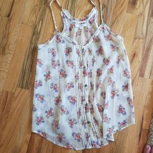 Aerie flowered  tank top cream , Size S